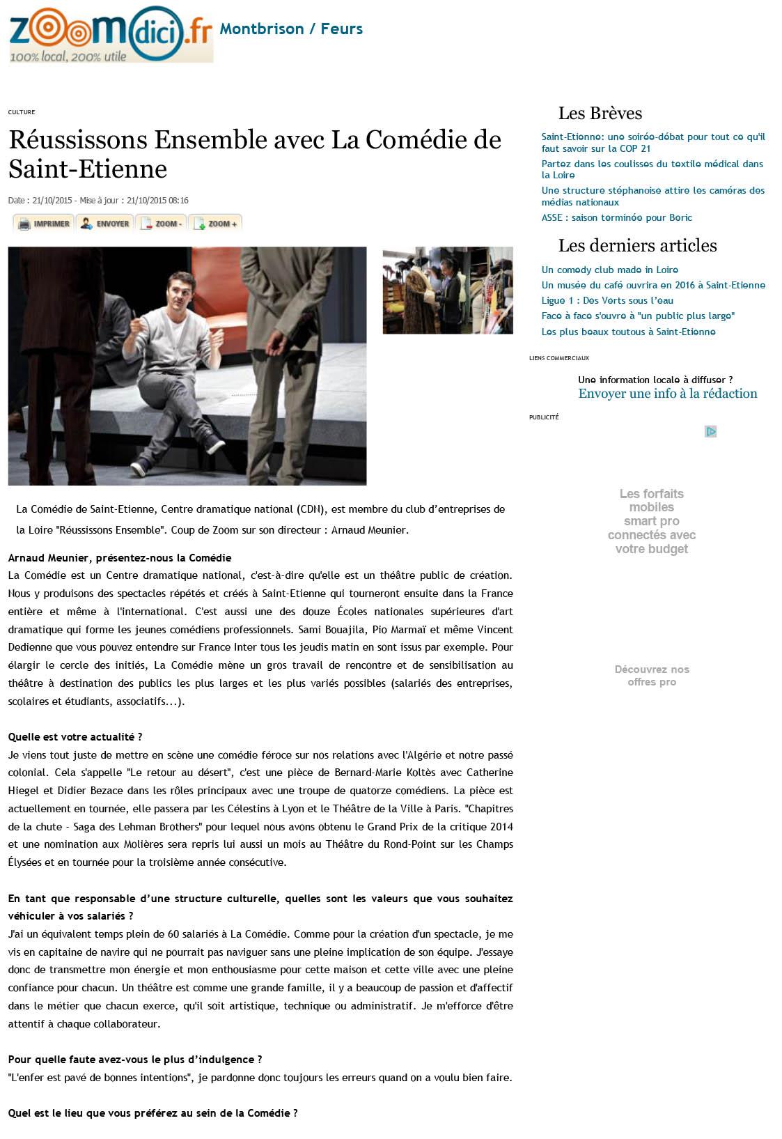 Réussissons Ensemble avec La Comédie de Saint-Etienne sur zoomdic1i